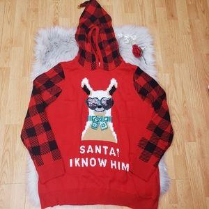 New Christmas Sweater Santa Bell Hoodie Plaid 18